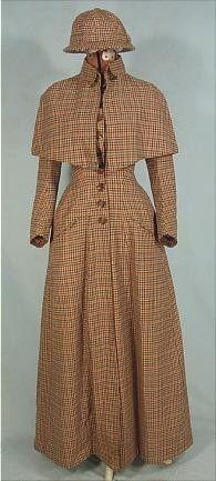 c. 1888 Plaid Wool Coat with detachable postillion cape