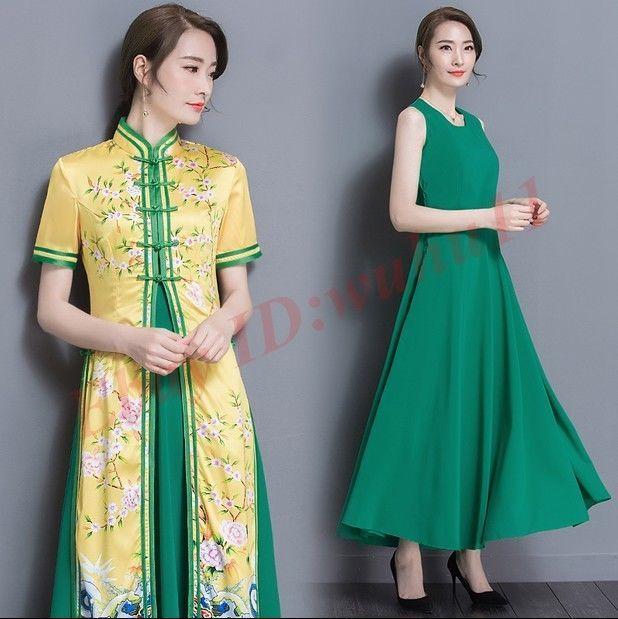 Elegant Spring Women Ethnic Trend Qipao Floral Print Dress Two Pcs Full Length