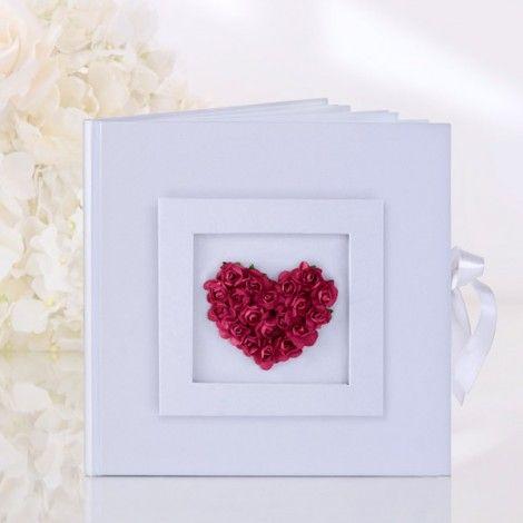 Libro de visitas de bodas Corazón de rosas
