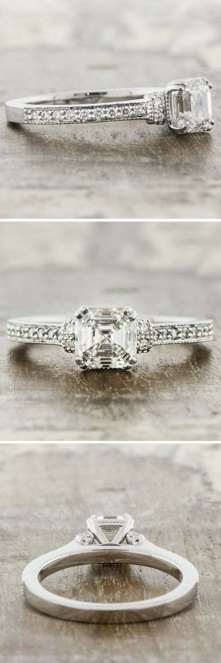 Jennie is an asscher cut three stone diamond engagement ring, with a hand engraved gallery. by Ken & Dana Design.