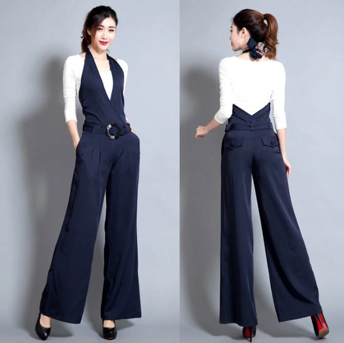 Hot 2015 spring European style women jumpsuit casual long romper pants hanging neck wide leg pants trousers female S-XXXL D3576 //Price: $71.26 & FREE Shipping //     #hashtag1