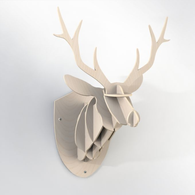 Wood Hunting Trophy - Deer Antlers. Made from baltic birch plywood, cnc cutted. Also available in PVC, in a wide range of color. Designed and made in Québec, by dezz.xyz.