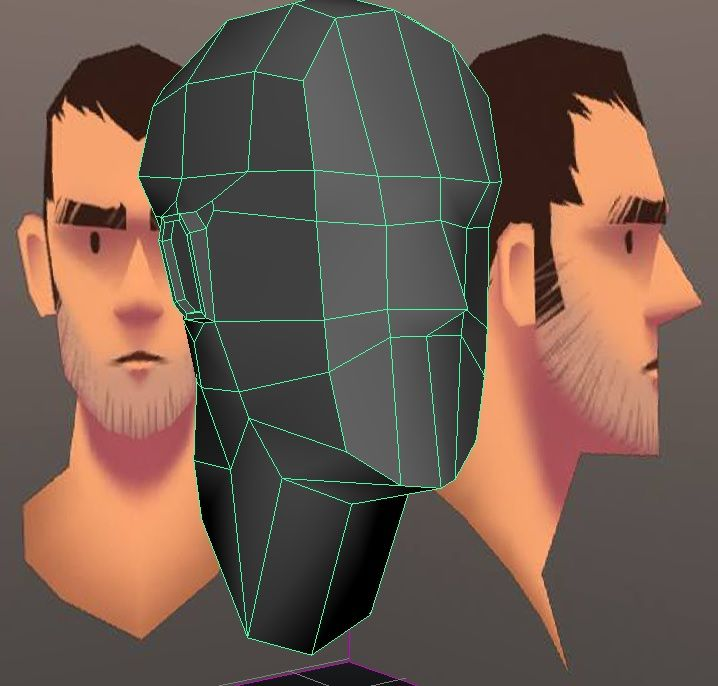 Low Polygon Head, created from one simple cube divided up into sections, after finding insuration from the cell shaded head image and sent over to Mudbox to paint facial features, LOD: LOW. (Sour...
