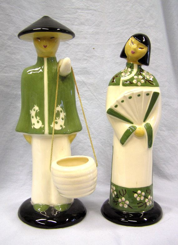 Vintage Ceramic Figurines Asian Man Woman Couple Chinese