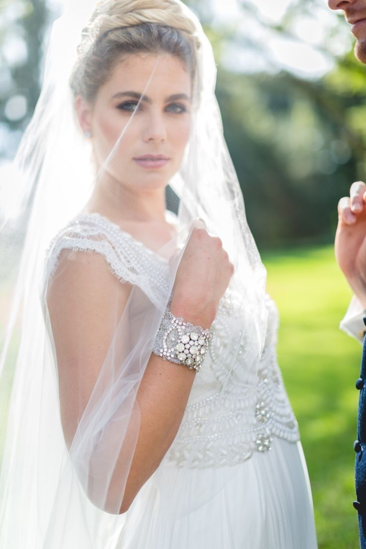 Make a statement with a glamorous bridal cuff designed from a vintage rhinestone jewel. See more here: http://www.cloenoeldesigns.com