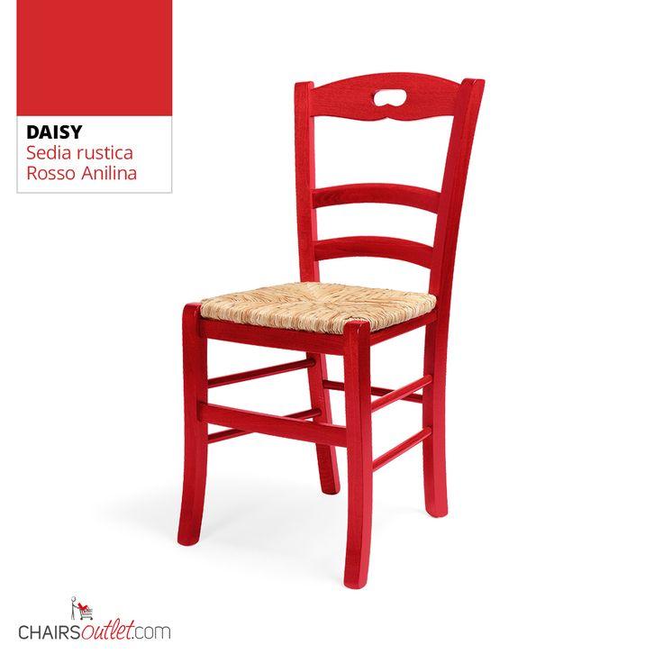 € 26,90 DAISY #sedia in legno, stile #rustico, in #offerta prezzo scontata del 50% ma 100% #MadeinItaly solo su www.chairsoutlet.com #sedie #rosse #casa #cucina #stile #saldi #offerte #outlet