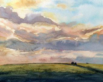 Paesaggio dell'acquerello tramonto inverno di sarahwrightpaintings