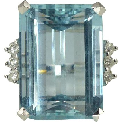 An absolute showstopper of a cocktail ring, this gorgeous Retro, circa 1950s aquamarine, diamond and 18kt gold ring. found at www.rubylane.com @rubylanecom