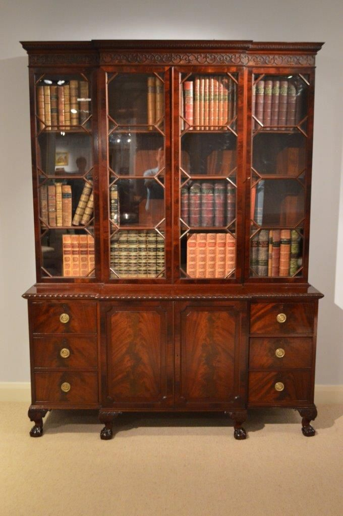 A Small Chippendale Style Mahogany Breakfront Bookcase By