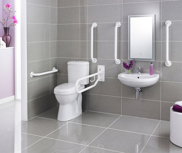 Doc M Pack - Disabled Bathroom Toilet, Basin and Grab Rails - White