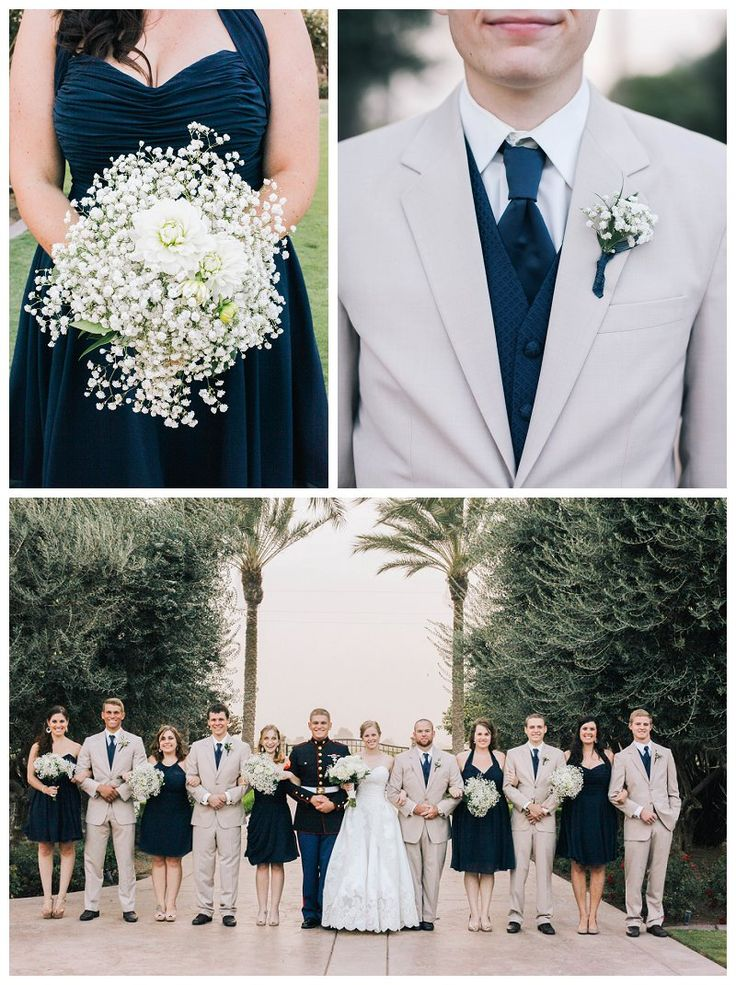 White and Blue wedding. Babies breath bouquet.  Kimberly Carlson Photography