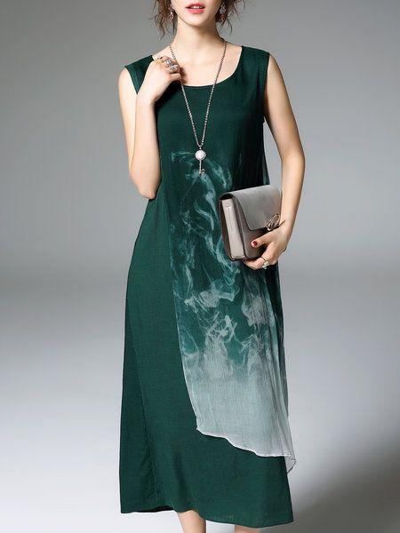 Green Printed Abstract A-line Resort Midi Dress