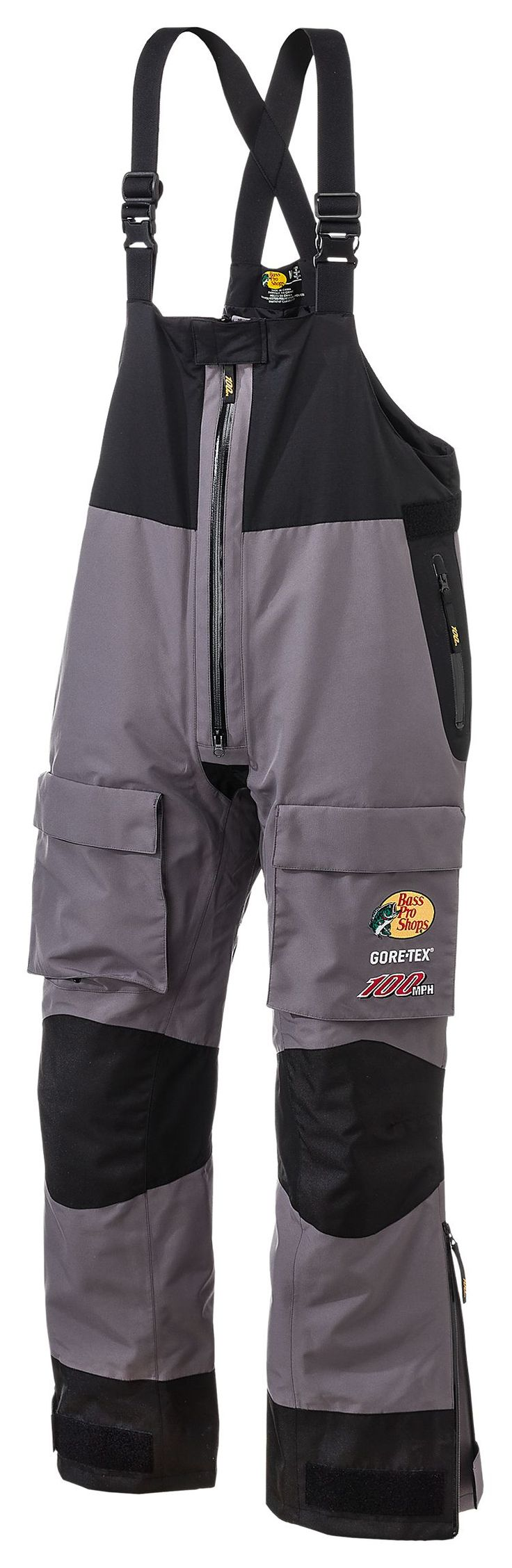 Bass pro shops 100mph gore tex rain bibs for men bass for Mens fishing rain gear