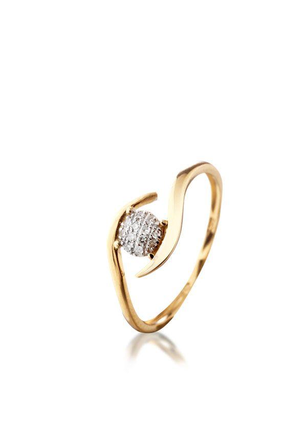 Bague femme or jaune 375/1000 avec diamant