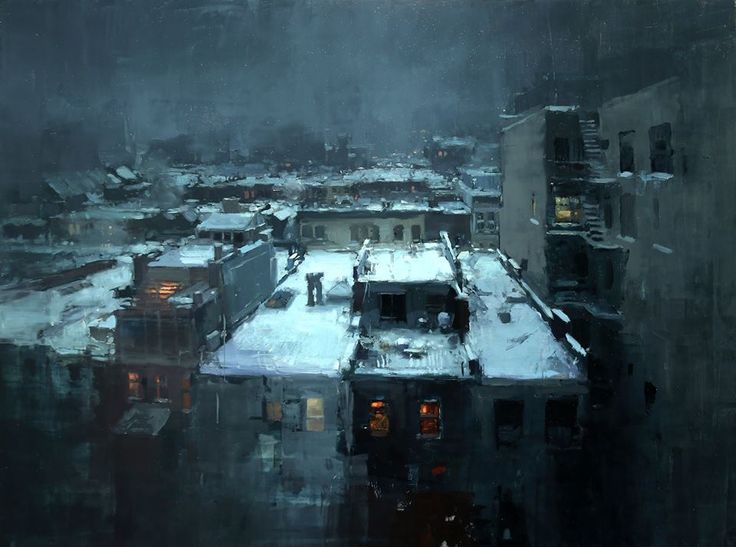 """Jeremy Mann - """"Rooftops in the Snow"""" , Oil on Panel, 18 x 24 inches, 2014."""