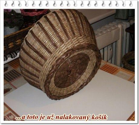 - Fotoalbum - Návody na pletenie - Návod na guľatý košík s ruličkami po stene