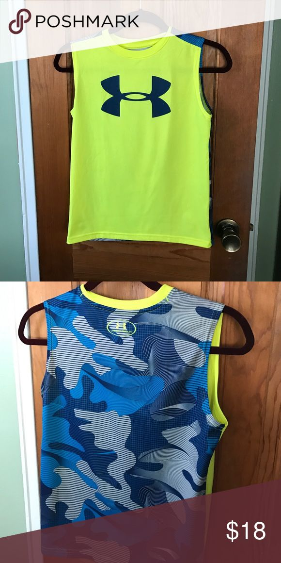 Boys under armour heat gear top Sleeveless shirt. Yellow front with logo and back is blue camouflage Under Armour Shirts & Tops