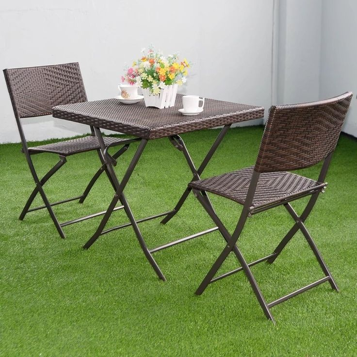 3pcs outdoor fold table chair furniture set rattan wicker bistro patio brown patio furniture metal - Garden Furniture Table And Chairs