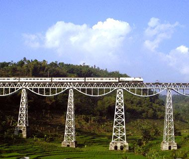 Bandung Argo Gede train passing the Cikurutug bridge in Indonesia.