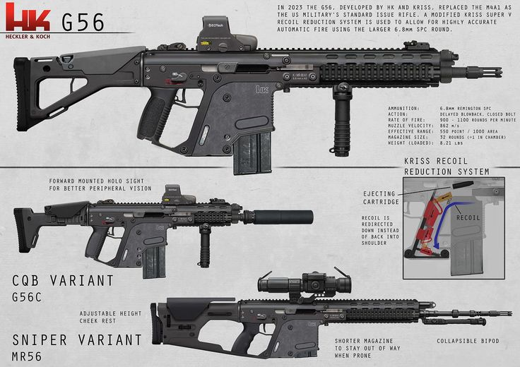 The concept is to put the Kriss Vector's, signature downward recoil system into a full length rifle system.