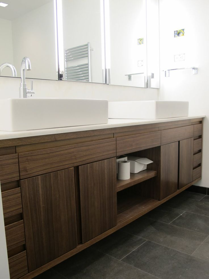 Amazing brown solid plywood custom floating vanity with for Bathroom double vanity designs