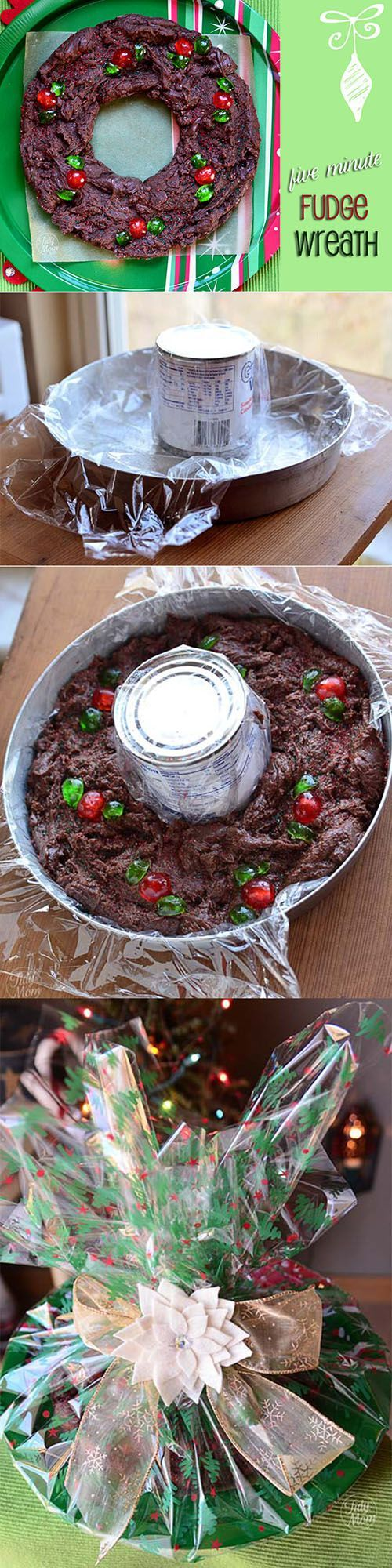 5 Minute Fudge Wreath - Don't be surprised if you make a batch of this fudge and discover you have way more friends than you used to!  Be sure to make a batch for yourself! recipe at http://TidyMom.net