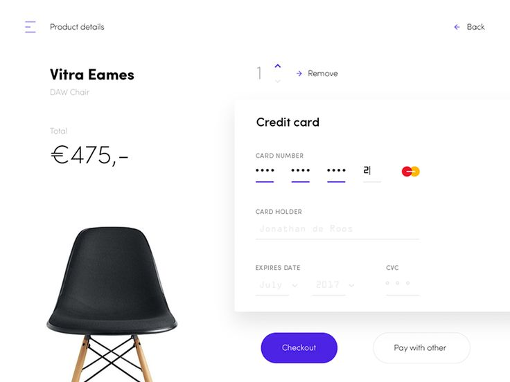 Try to add my own style on this credit card checkout design.