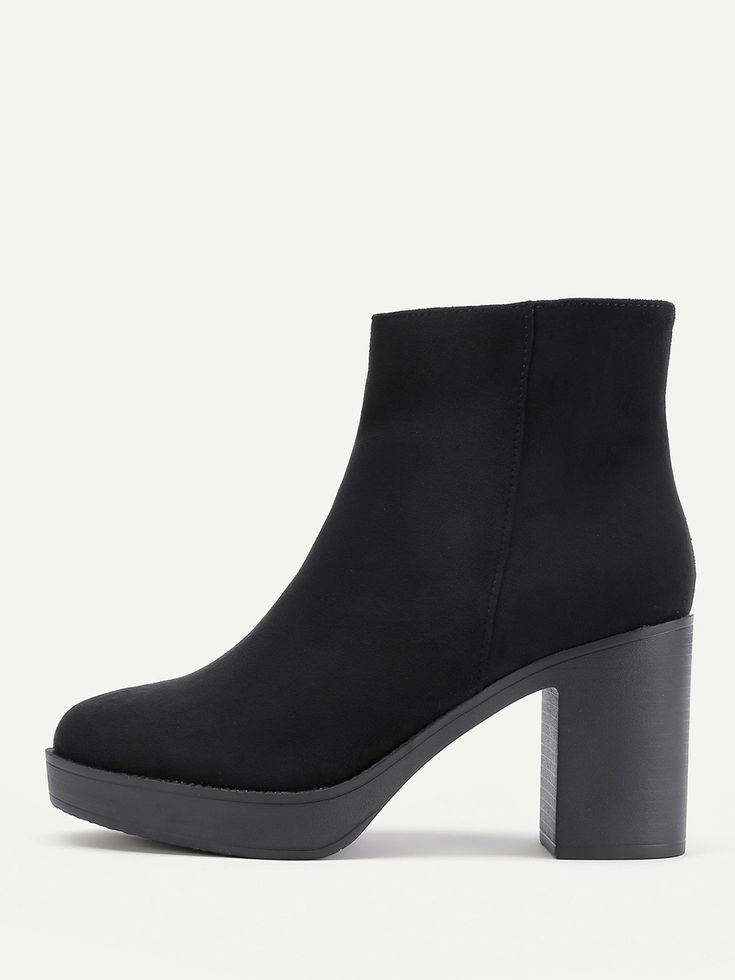 Ankle High Heel Boots with Almond Toe. Boots have Side zipper. Perfect choice for Elegant wear. Trend of Spring/Autumm-2018. Designed in Black.