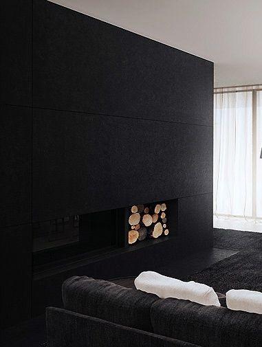 ♂ minimalist interior design living room fireplace black deco