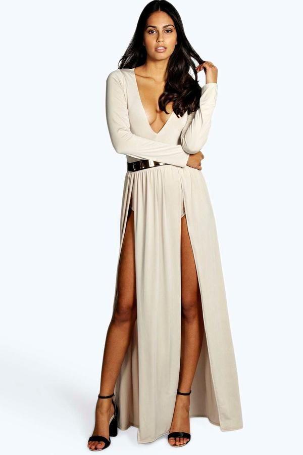 boohoo Libby Thigh Split and Gold Belt Maxi Dress