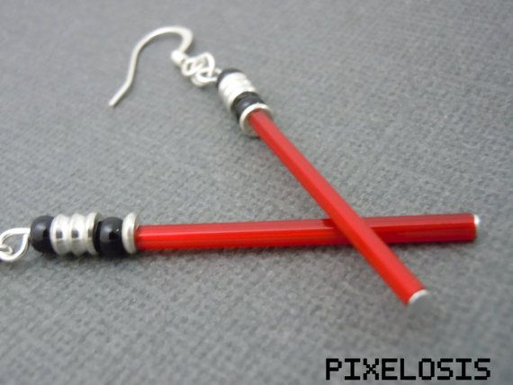Glowy Red Lightsaber Earrings Star Wars Jewelry Darth by Pixelosis