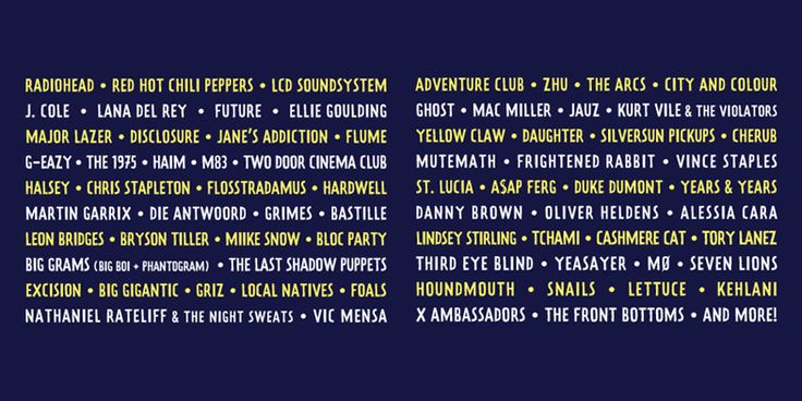 Lineup do Lollapalooza 2016 em Chicago
