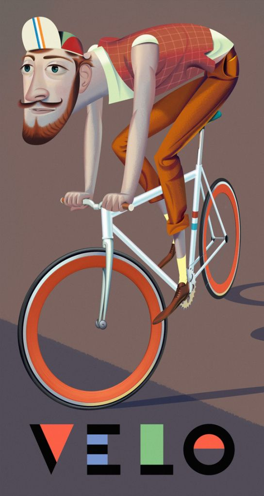 Velo - illustrazione uomo in bicicletta - man on a bike - by Nigel Buchanan