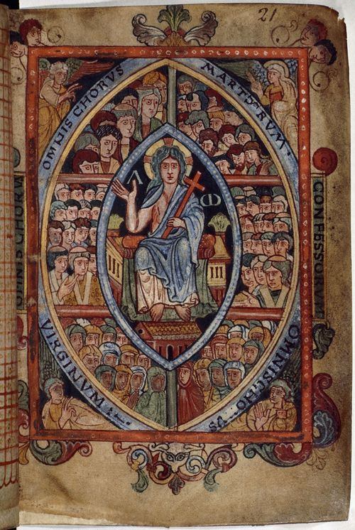From the Medieval Manuscripts blog post 'King Athelstans Books'. Image: The Athelstan Psalter (London, British Library, MS Cotton Galba A XVIII, f. 21r).