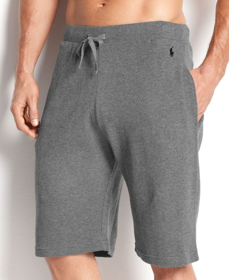 A cozy waffle-knit sleep short is crafted for comfort in ultra-soft cotton with an adjustable drawstring waist. | Cotton | Machine washable | Imported | Polo Ralph Lauren men's sleep shorts  | Elastic