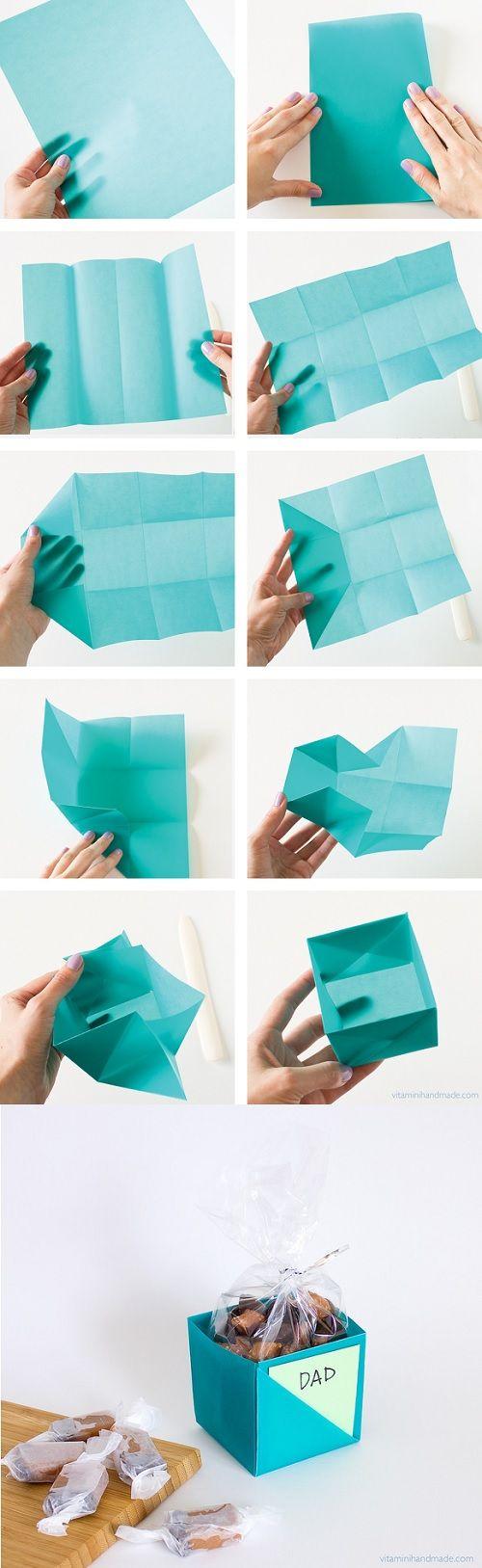 Op deze manier kun je makkelijk een doosje vouwen voor bijvoorbeeld een verjaardagscadeau. Super leuk idee!