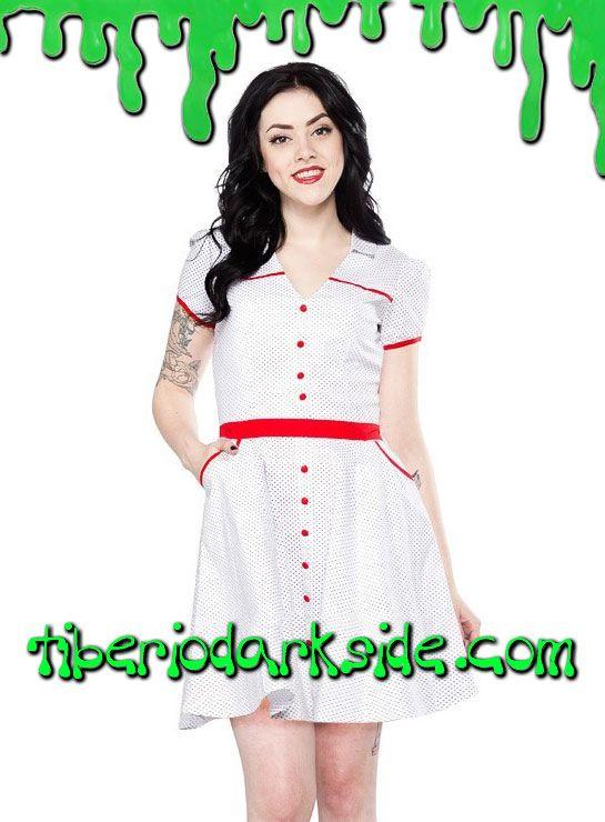 Tiberio Dark Side, - Vestido Hellbilly Topos