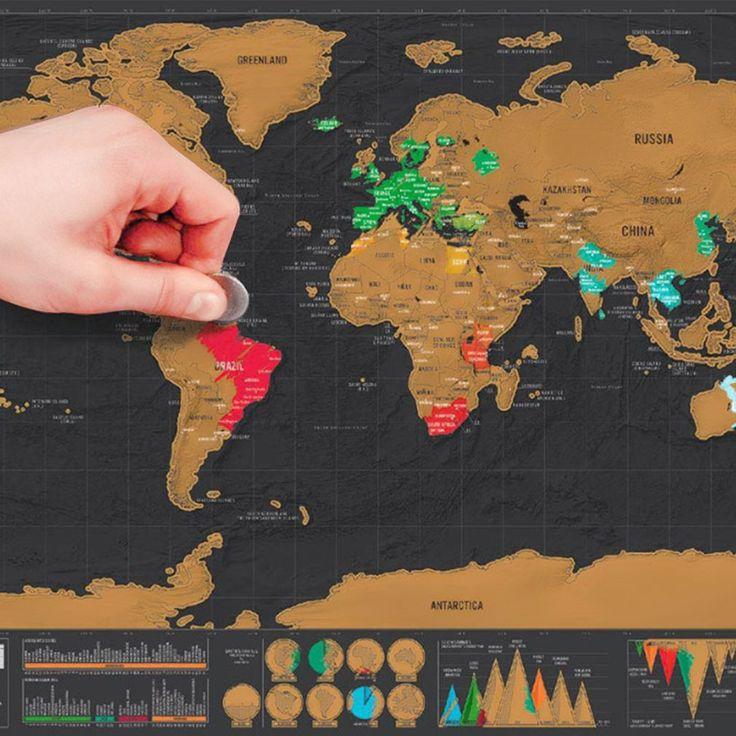 Mini Black Deluxe Travel Scrape World Map