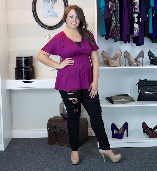 "Real Curves Cutie, Jessica A. rocked an edgy pair of shredded jeans with Backstage Dolman Top. Since her jeans revealed a hint of skin, she opted to wear our Essential Stretch Camisole on top for more coverage. Size: 0x / Height: 5' 7"" #plussize"