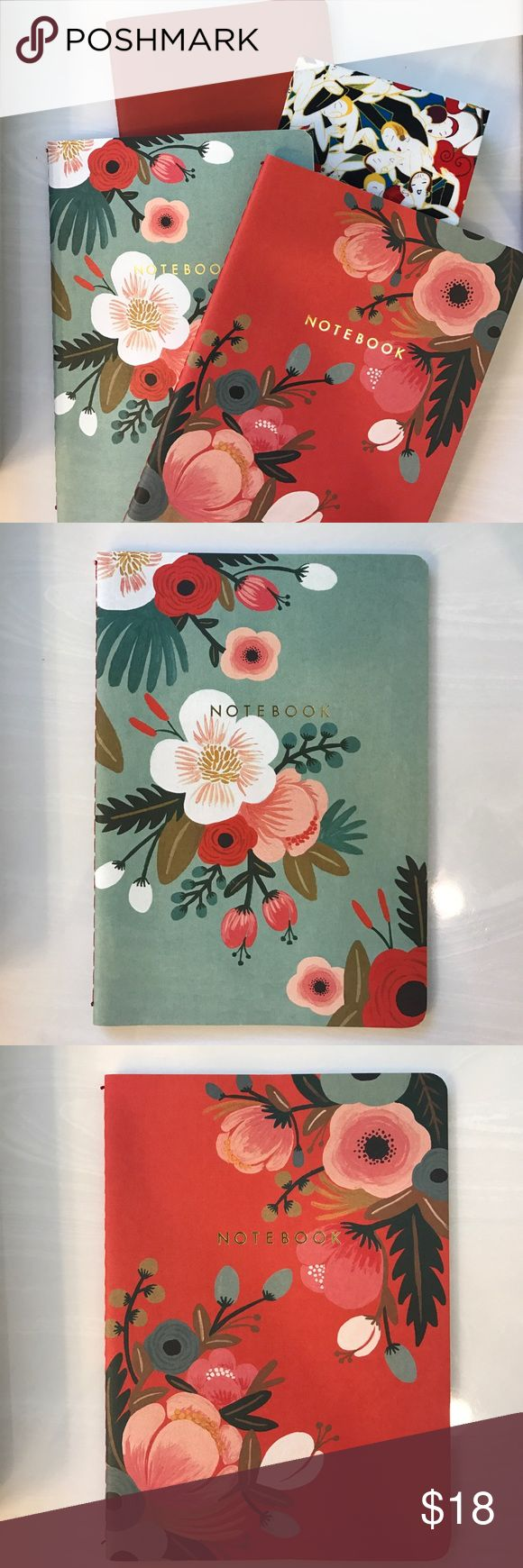 🌸🌺NOTEBOOKS🌺🌸 SET OF 4 NOTEBOOKS. FLOWER AND RED NOTEBOOKS ARE LINED • SMALLER ONE WITH COLORFUL PRINT HAS NO LINES JUST FRAMED BORDER AROUND PAPER ALSO THICKER PAPER • SUPER CUTE • GREAT FOR CARRYING IN PURSE FOR JOURNALING • FREE GIFT WITH PURCHASE 🌺🌸  *NO TRADE* Carolina Herrera Other