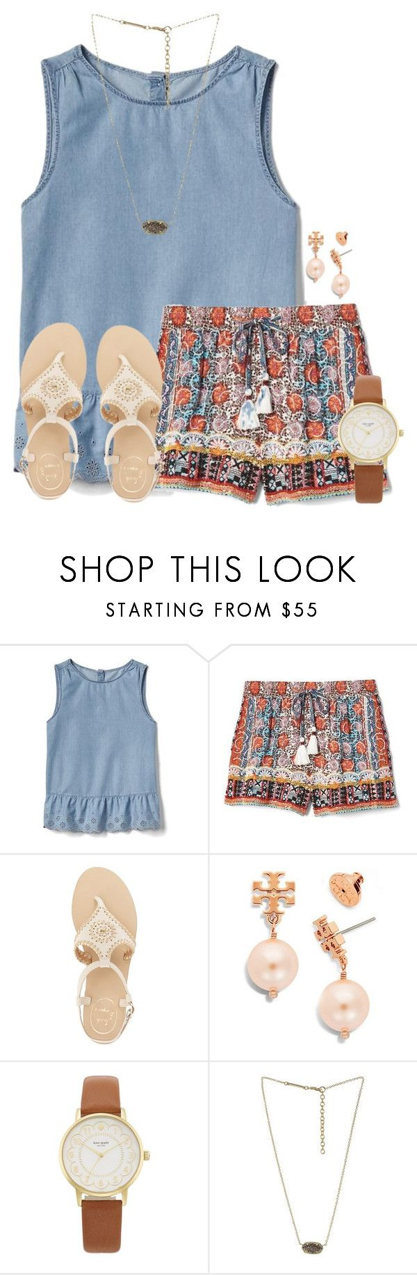 """When's y'alls last day of school "" by flroasburn ❤ liked on Polyvore featuring Gap, Jack Rogers, Tory Burch, Kate Spade and Kendra Scott"