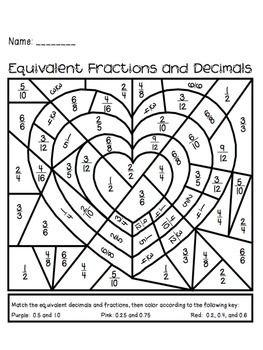 Gelijkheid tussen breuken en decimale getallen. Kleurplaat, thema: Valentijn