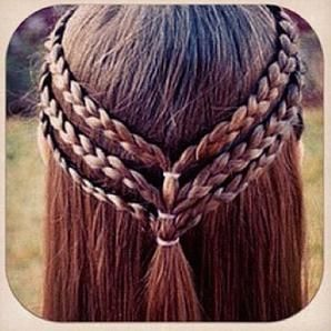 Three small braids pulled together, to make a really cute teen/tween girl hairstyle!