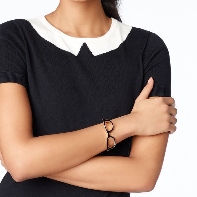 7d24fd4141b Goreski Glasses Bangle by katespade via dustyburrito  Jewelry  Bangle   Glasses The sweater and bangle are darling!
