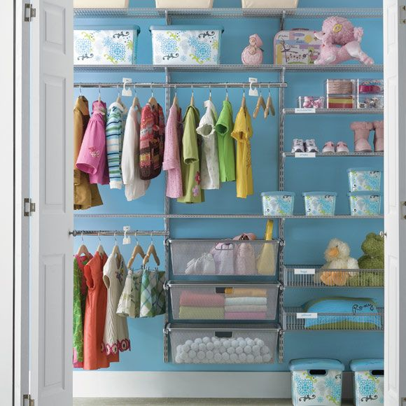 Tips for decorating/organizing a small space from Project Nursery - #kidsroom #organization #organize: Organizations Ideas, Kid Closet, Elfa Closet, Kids Closet, Closet Organizations, Baby Rooms, Closet Ideas, Baby Closets, Kids Rooms