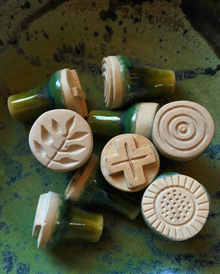 Ceramic stamps I made for clay inside one of my wheel thrown bowls Sellos de cerámica que hice para arcilla en uno de mis tazones hecho en el torno by geninne More