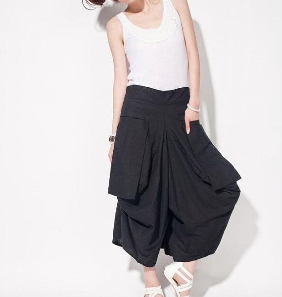 women linen Wide leg pants/ asymmetric Large pocket by MaLieb, $70.00