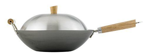 Helen Chens Asian Kitchen 14inch Carbon Steel Flat Bottom Lidded Wok Set by HIC Harold Import Co -- You can get more details by clicking on the image.Note:It is affiliate link to Amazon.