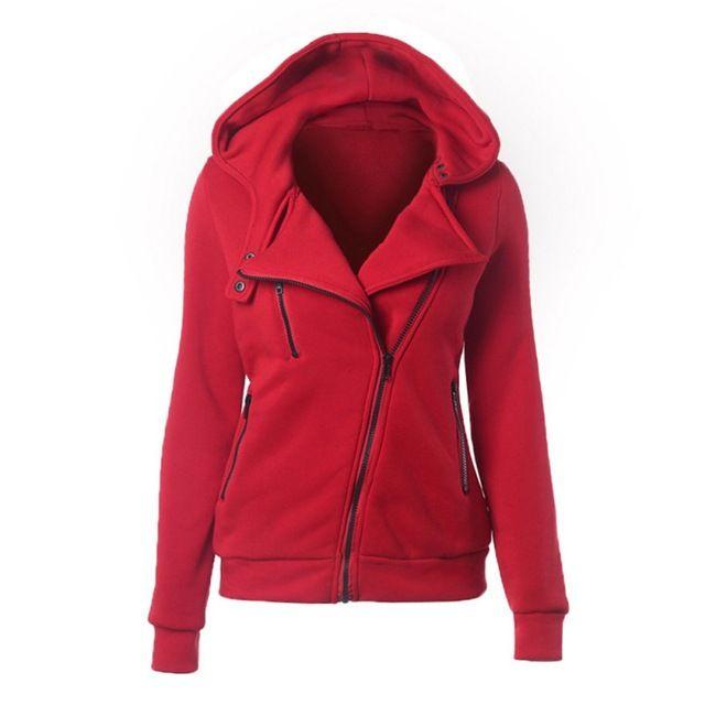Top Offers $9.92, Buy Solid Color Hooded Jacket Long Sleeve Women's Hoodies Sweatshirts Black Zipper Autumn Winter Outerwear Coats Fashion