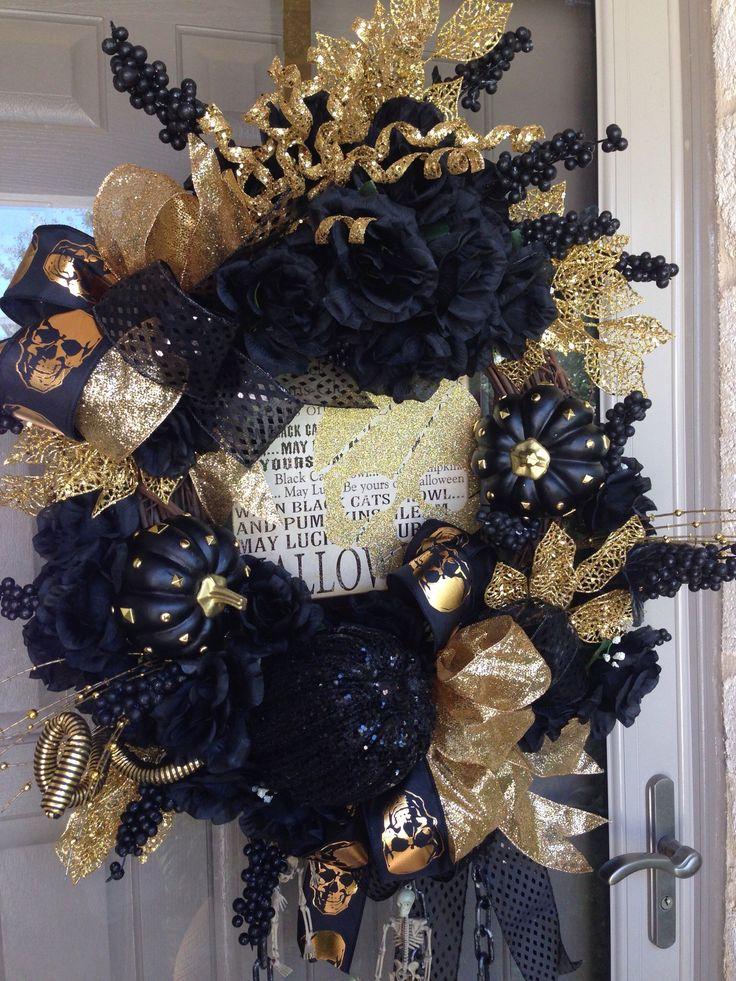 halloween wreath glitter glam gothic punk pumpkin gold black skulls - Glitter Halloween Decorations